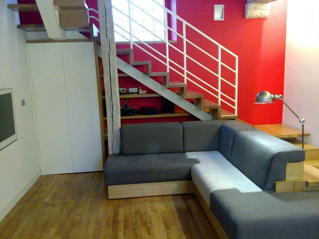 Escalier bois / métal et canapé design LDRP<div style='clear:both;width:100%;height:0px;'></div><span class='cat'>ESCALIER</span>